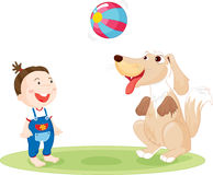 Child and dog playing Stock Images