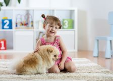 The child with the dog sitting on floor at home royalty free stock image