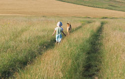 Child and dog walking among the fields and meadows Royalty Free Stock Images