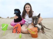 Child and dogs Royalty Free Stock Photo