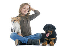 Child and dogs Stock Images