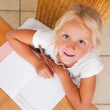 Child doing homework for school Royalty Free Stock Photos