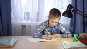 Child doing homework, writing in a notebook in the stock video