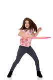 Child doing hula hoop with motion blur Royalty Free Stock Images