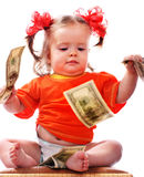 Child with dollar money. Stock Image