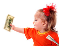 Child with dollar money. Stock Photography