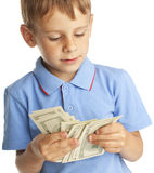 Child with dollars Stock Photo