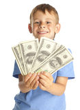 Child with dollars Royalty Free Stock Photo