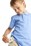 Child with dollars Royalty Free Stock Photos