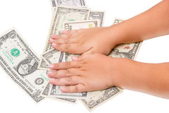 Child with dollars Stock Photography