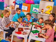 Child dough play in school. Plasticine for children. Royalty Free Stock Photography