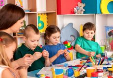 Child dough play in school. Plasticine for children. royalty free stock photo