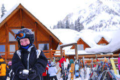 Child at downhill ski resort Royalty Free Stock Photo