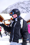 Child at downhill skiing resor Royalty Free Stock Photography