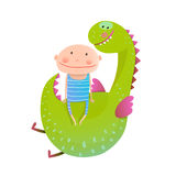Child and dragon friendly friendship happy together Royalty Free Stock Photo