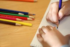 Child draw Stock Photo