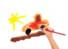 Child draw a car. And sun Stock Images