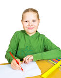 Child draw with colorful pencils Stock Image