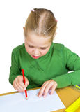 Child draw with colorful pencils, isolated Stock Photos
