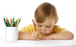 Child draw with crayons Royalty Free Stock Photo