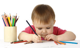 Child draw with crayons Royalty Free Stock Photos