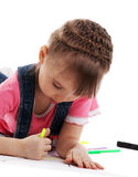 Child draw with felt pen and dream Royalty Free Stock Images