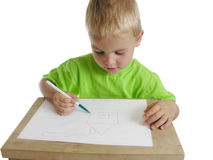 Child draw home Stock Photos