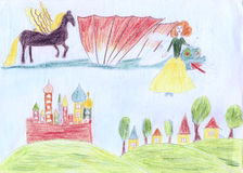 Child draw pensils illustration with flying dragon, horse, fairy Stock Images