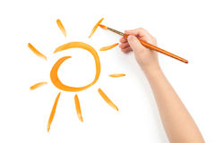 Child draw a sun Stock Photography
