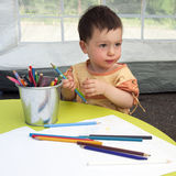Child drawing royalty free stock photography