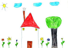 Child drawing. Real child drawing of a house, tree, flowers, clouds and sun Stock Photos