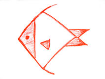 Child drawing,. Red fish in white background Royalty Free Stock Images