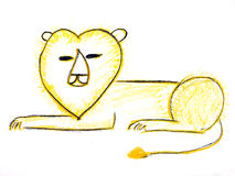 Child drawing. A lion in white background Royalty Free Stock Image