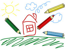 Child drawing Stock Photography