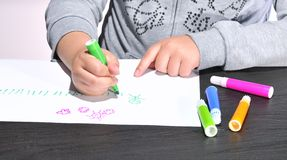 Child drawing. Royalty Free Stock Photos