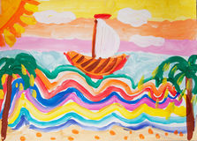 Child drawing. Sailing ship near tropical island Stock Photo