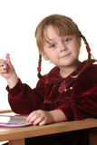 Child drawing. Young pretty girl learn drawing with pen Royalty Free Stock Photo