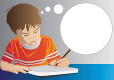 Child Drawing. Illustration of a child drawing with empty taught bubble Royalty Free Stock Photos