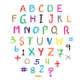 Child drawing of alphabet font made with wax crayons. Royalty Free Stock Image
