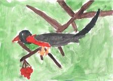 Child drawing of bird sitting on branch of Rowan Stock Image