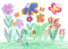 Child drawing butterfly and flowers nature Stock Image