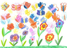 Child drawing butterfly and flowers nature Stock Photos