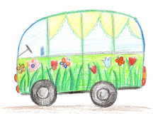 Child drawing car Stock Photography