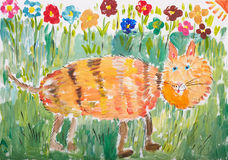 Child drawing: cat walking on green grass. Child drawing: red cat walking on green grass Royalty Free Stock Photo