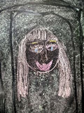 Children`s drawing with chalk stock images