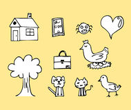 Child drawing Chicken house and etc images . Royalty Free Stock Image