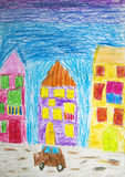 Child drawing with crayons. Fragment of the city Stock Photos