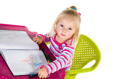 Child drawing with crayons. Isolated on white royalty free stock image