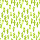 Child drawing cute plants, grass seamless pattern. Green fairy forest branches background. Wallpaper print. stock illustration