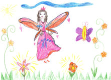 Child drawing fairy flying on a flower. Child drawing fairy. Cute fairy flying on a flower vector illustration